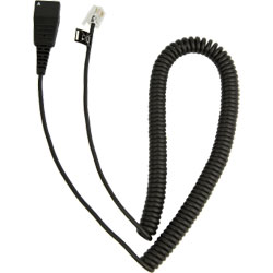 JABRA Quick Disconnect (QD) to Modular (RJ) Coiled Bottom Cord, 2M - 8800-01-37