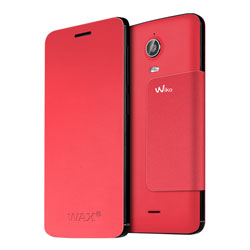 Wiko Folio Stand Back Cover Case for Wiko WAX 4G Smartphone (สีแดง) - 3700738101600