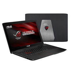 ASUS GL552VW-CN174D ROG Gaming Laptop Notebook (Intel Core i7-6700HQ Processor 2.6GHz, 8GB RAM, 1TB HDD + 128GB SSD, Dos) - Gray Metal