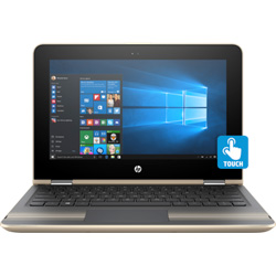 HP Pavilion x360 11-u001TU Touch Laptop Notebook (Intel Core i3-6100U 2.3GHz, 4GB RAM, 128GB SSD, Windows 10) (Modern Gold) - W0J20PA