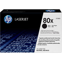 HP No. 80X High Yield Black Original LaserJet Toner Cartridge (CF280X)