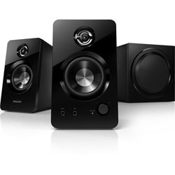 "Philips SPA7355 Multimedia Speakers 2.1 SPDTM bass port 2.75"" Satellite drive 5.25"" Subwoofer 120W"