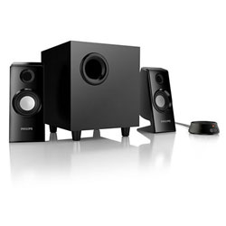 "Philips SPA4355 Multimedia Speakers 2.1 2.5"" Satellite driver 5"" Subwoofer Headphone out, Audio-in 70W, Audio-In - SPA4355/67"